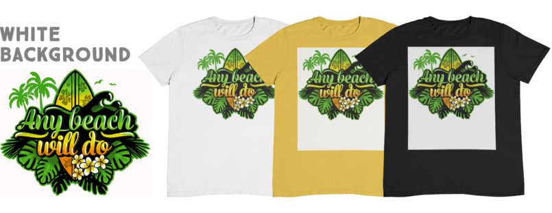 A white, yellow and black t-shirts with a beach print on a white background