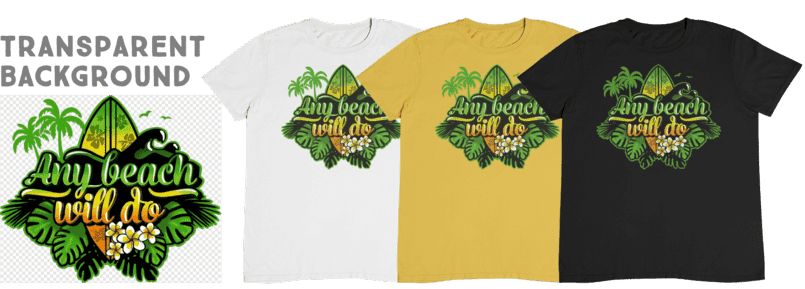 A white, a yellow and a black t-shirt, with a beach-motiv printed on.