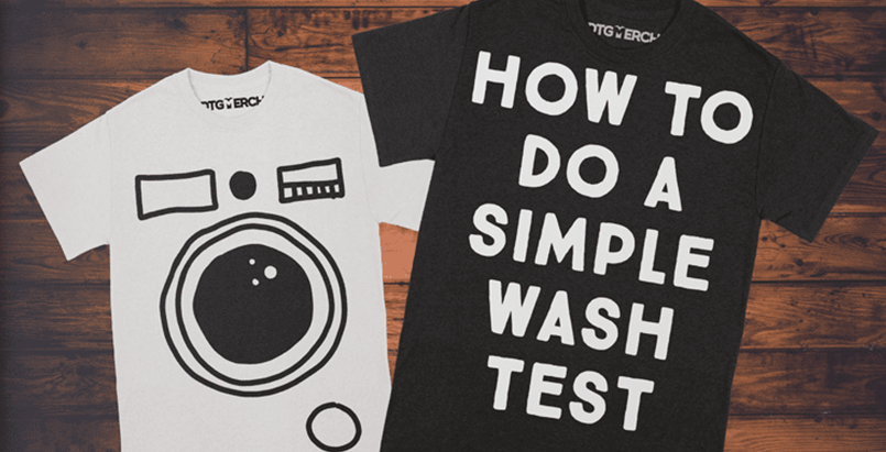 A white and a black t-shirt over a wood background. How to fo a simple wash test is printed on the black t-shirt. The white t-shirt has a washing machine front printed on.