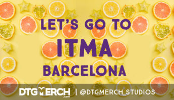 DTG Merch Lets go to ITMA Barcelona banner. Yellow background with tropical fruits in it and purple coiour lettering