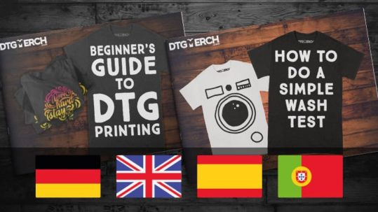 Two DTG Merch e-books on a woody surface. The image also presents four flags, being: Germany, UK, Spain and Portugal.